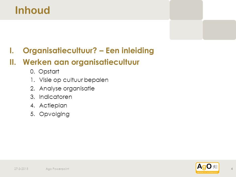 27-3-2015Ago Powerpoint4 I.Organisatiecultuur? – Een inleiding II.Werken aan organisatiecultuur 0. Opstart 1.Visie op cultuur bepalen 2.Analyse organi