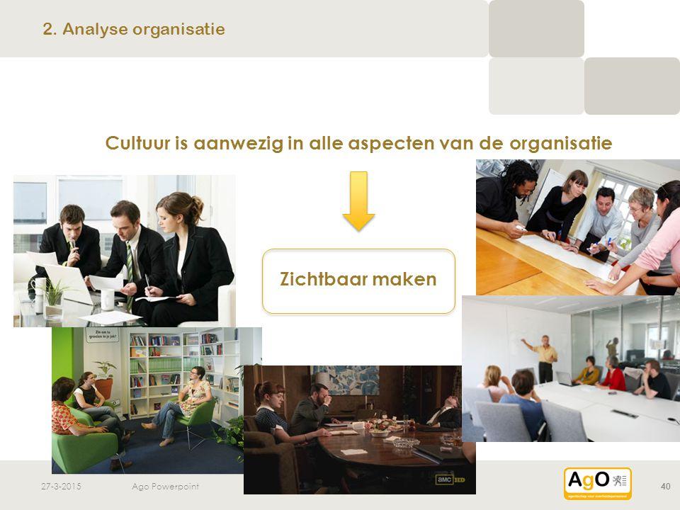 27-3-2015Ago Powerpoint40 Cultuur is aanwezig in alle aspecten van de organisatie Zichtbaar maken 2. Analyse organisatie