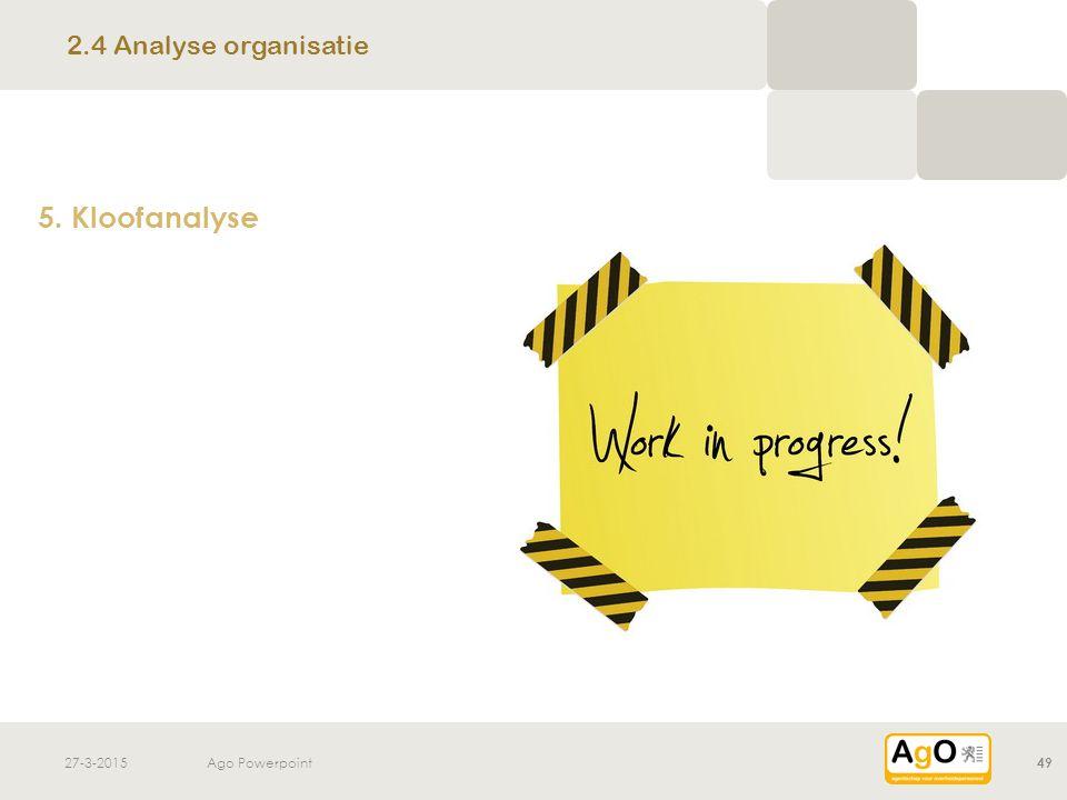27-3-2015Ago Powerpoint49 5. Kloofanalyse 2.4 Analyse organisatie