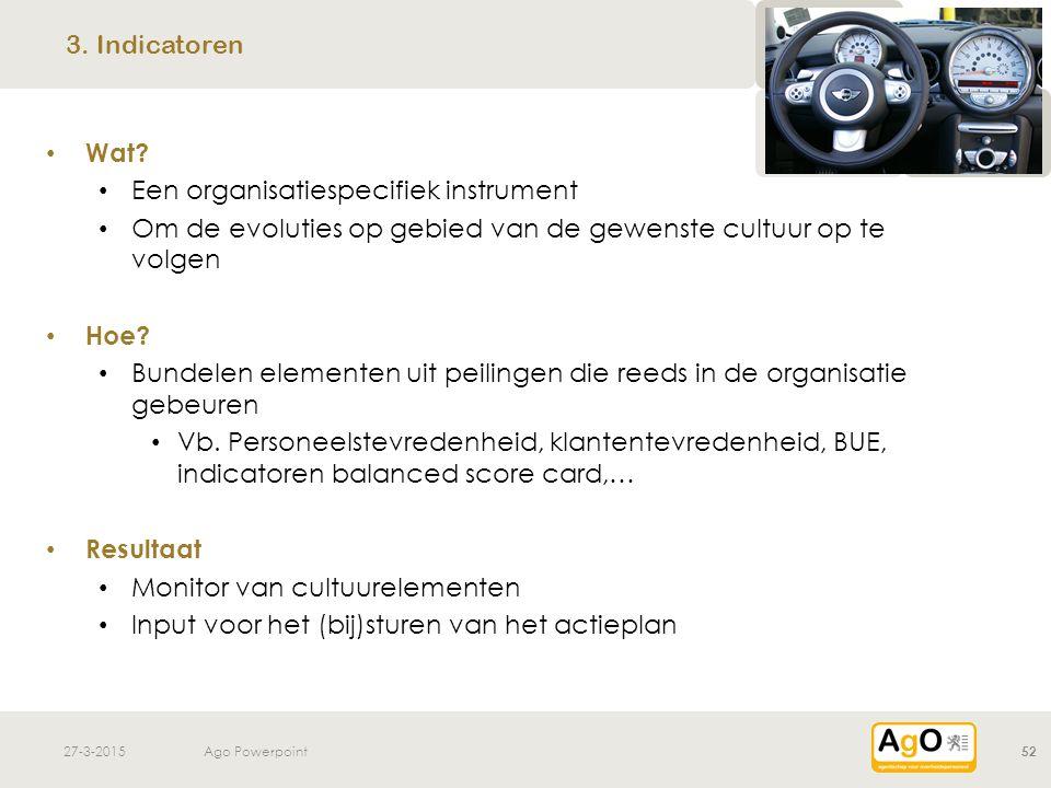27-3-2015Ago Powerpoint52 Wat? Een organisatiespecifiek instrument Om de evoluties op gebied van de gewenste cultuur op te volgen Hoe? Bundelen elemen