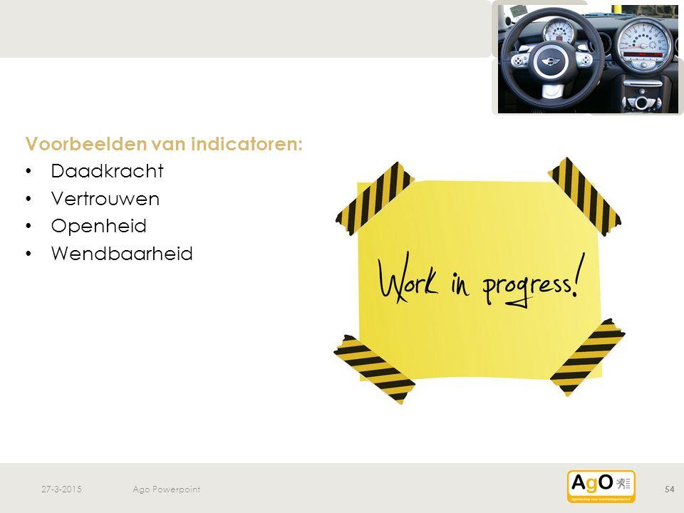 27-3-2015Ago Powerpoint54 Voorbeelden van indicatoren: Daadkracht Vertrouwen Openheid Wendbaarheid
