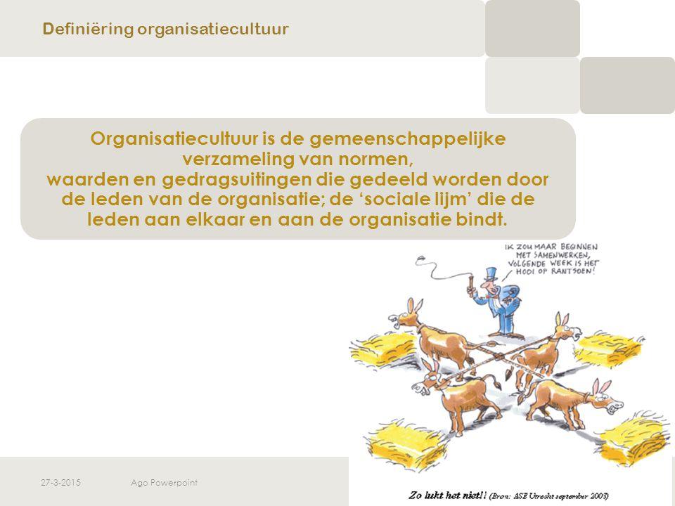 27-3-2015Ago Powerpoint7 CULTUUR IS MEER Maar cultuur is meer dan enkel het voorzien van gedeelde opinies over het uiteindelijke doel van het te stellen gedrag Cultuur is ook het geheel van instrumenten om praktische problemen in de organisatie aan te pakken Definiëring organisatiecultuur
