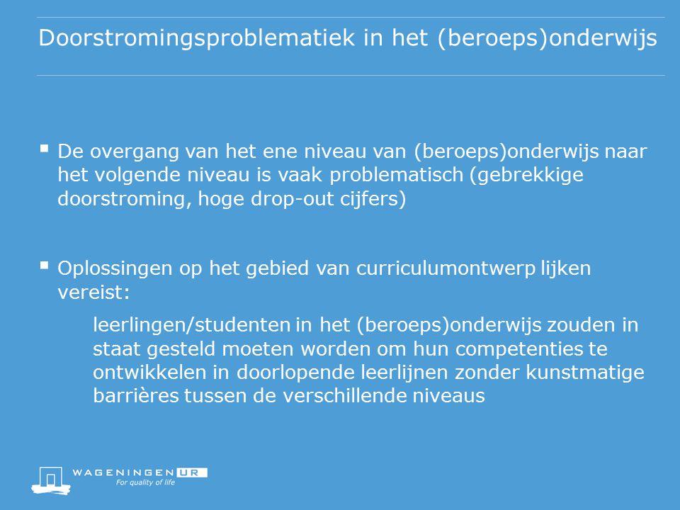 Doorlopende leerlijnen in het Nederlandse beroepsonderwijs  Ontwikkeling van doorlopende leerlijnen in het beroepsonderwijs wordt gestimuleerd: onderwijsprogramma's gekenmerkt door continuïteit in het curriculum wat betreft competentiegebieden en vakken, die meer dan één onderwijsniveau omvatten (b.v.
