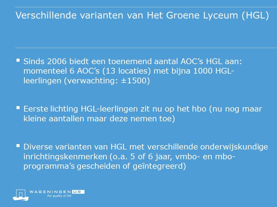 Verschillende varianten van Het Groene Lyceum (HGL)  Sinds 2006 biedt een toenemend aantal AOC's HGL aan: momenteel 6 AOC's (13 locaties) met bijna 1