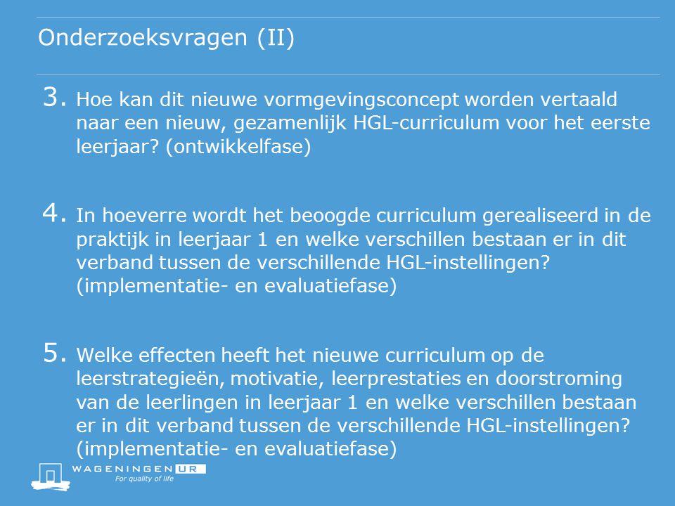 Beoogde opbrengsten van het project (I) Fase 1 (ontwikkelfase 2014-2015):  Informatie over succesvolle elementen in de diverse HGL- concepten op basis van data uit lopende WURKS-onderzoek  Ontwerp voor Eén Groen Lyceum  Uitgewerkt curriculum leerjaar 1 van Eén Groen Lyceum