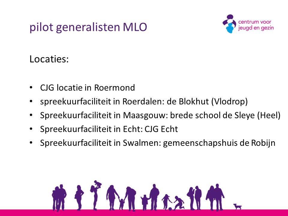 pilot generalisten MLO Locaties: CJG locatie in Roermond spreekuurfaciliteit in Roerdalen: de Blokhut (Vlodrop) Spreekuurfaciliteit in Maasgouw: brede