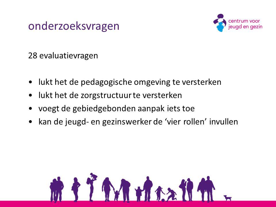 onderzoeksvragen 28 evaluatievragen lukt het de pedagogische omgeving te versterken lukt het de zorgstructuur te versterken voegt de gebiedgebonden aa