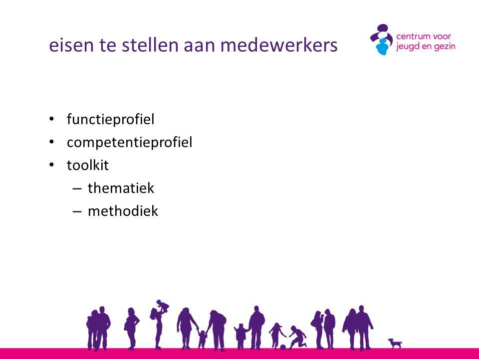eisen te stellen aan medewerkers functieprofiel competentieprofiel toolkit – thematiek – methodiek