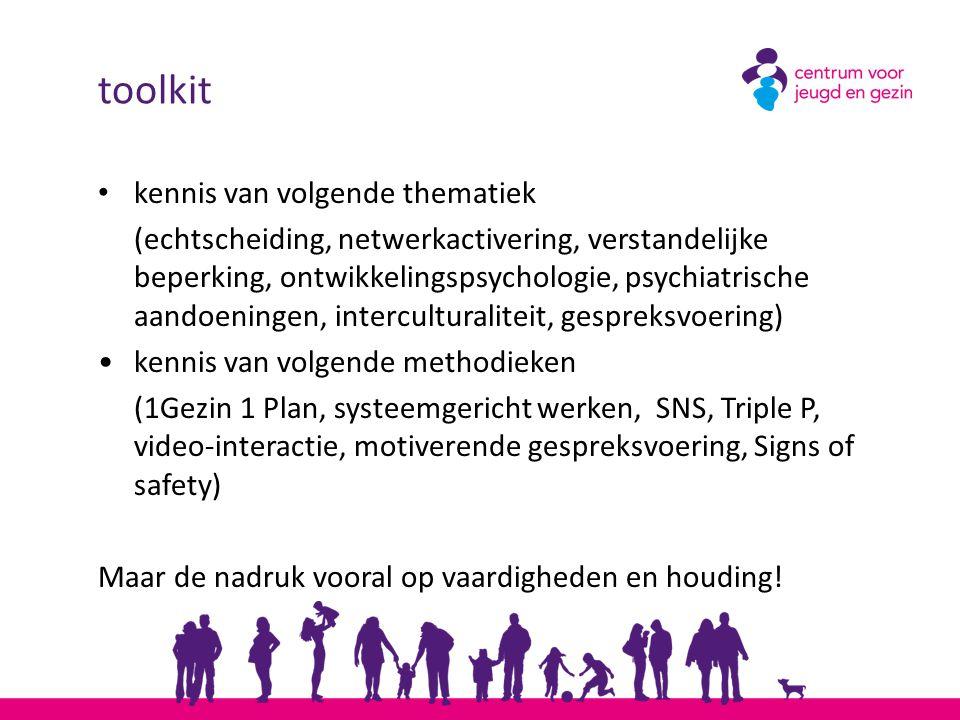 toolkit kennis van volgende thematiek (echtscheiding, netwerkactivering, verstandelijke beperking, ontwikkelingspsychologie, psychiatrische aandoening