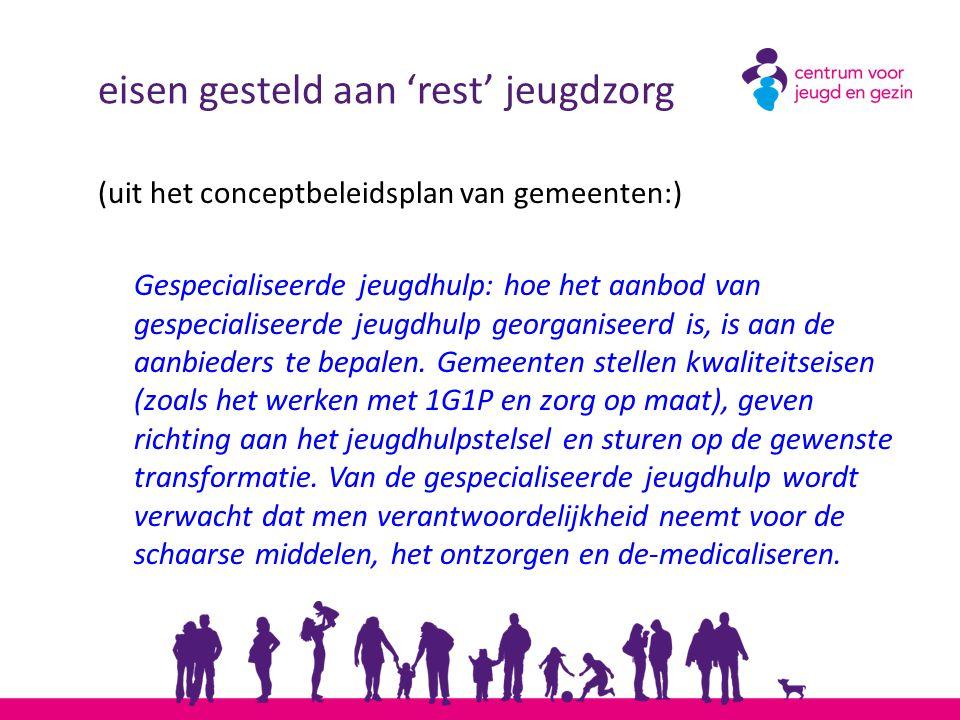 eisen gesteld aan 'rest' jeugdzorg (uit het conceptbeleidsplan van gemeenten:) Gespecialiseerde jeugdhulp: hoe het aanbod van gespecialiseerde jeugdhu