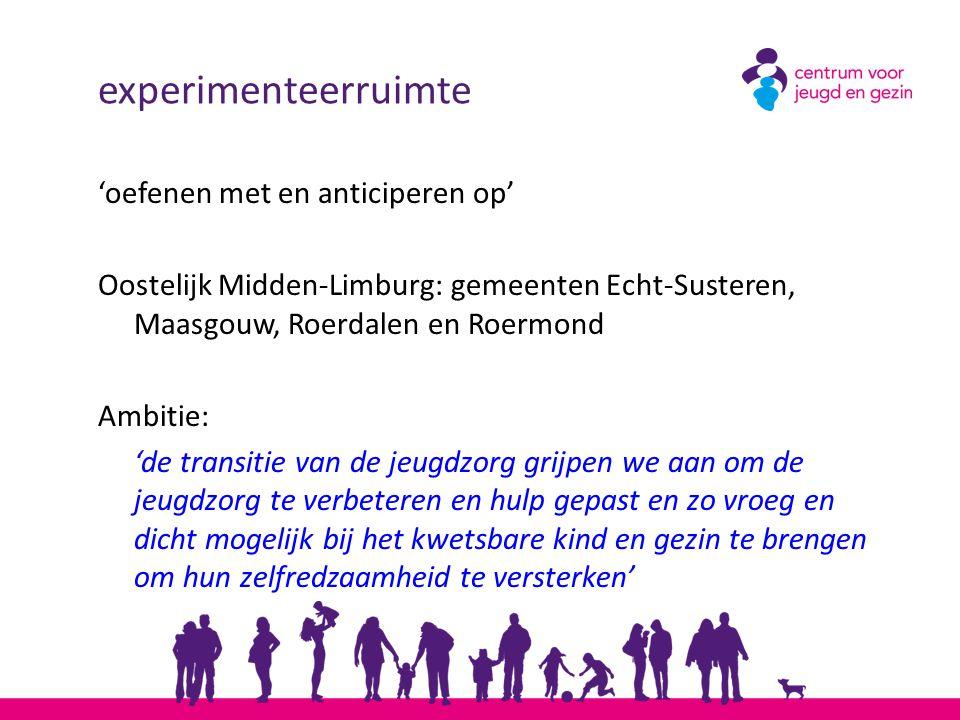 experimenteerruimte 'oefenen met en anticiperen op' Oostelijk Midden-Limburg: gemeenten Echt-Susteren, Maasgouw, Roerdalen en Roermond Ambitie: 'de tr