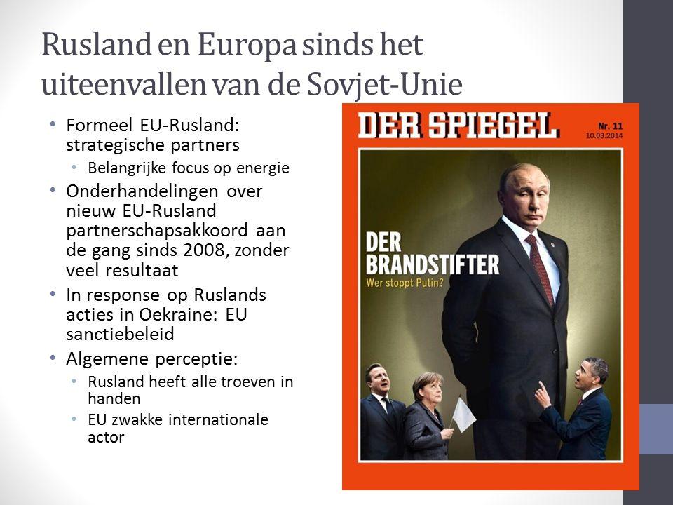 Rusland en Europa sinds het uiteenvallen van de Sovjet-Unie Formeel EU-Rusland: strategische partners Belangrijke focus op energie Onderhandelingen ov