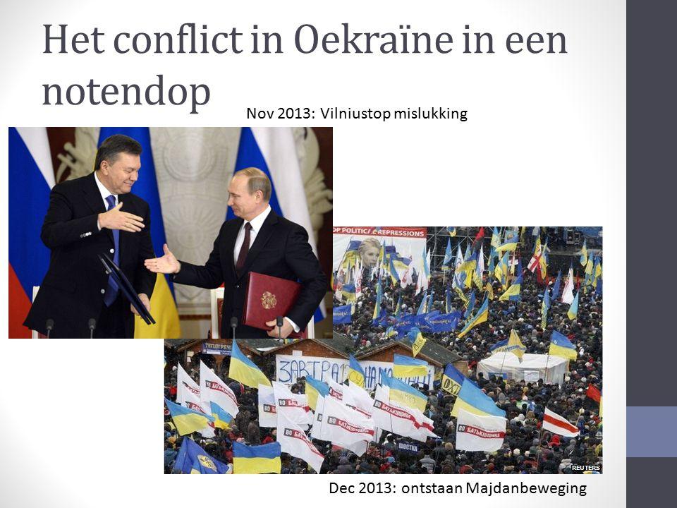 Het conflict in Oekraïne in een notendop Nov 2013: Vilniustop mislukking Dec 2013: ontstaan Majdanbeweging