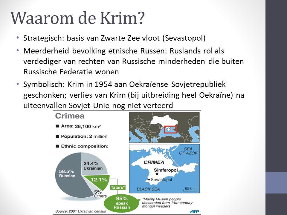 Waarom de Krim? Strategisch: basis van Zwarte Zee vloot (Sevastopol) Meerderheid bevolking etnische Russen: Ruslands rol als verdediger van rechten va