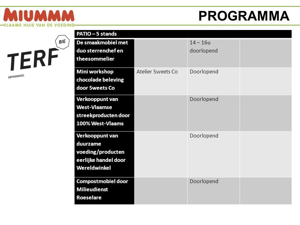 PROGRAMMA MIUMMM SMAAKACADEMIE – 5 randactiviteiten Workshop 'crisiskoken' door CVO kok Johan Verlinden ism MIROM / VLACO Leskeuken14 – 14.45u27 Kookworkshop 'Miummmies' – eetbare mummies: 4 kids Leskeuken15.15 – 16.30u Doorlopend (echter vol is vol) Koffieworkshop/info- demo door Barista Creme de la Crema Degustatieruimte14.30 – 15.30u40 Workshop kruideninfusies door theesommelier Ann Van Steenkiste Degustatieruimte16.15 – 17u40 Interactief spel rond duurzaamheid in de landbouw 'Boer in de Wolken' - voor kinderen tussen 5 en 12 jaar SmaaklabodoorlopendDoorlopend (echter vol is vol)