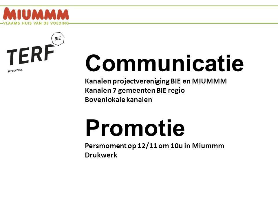 Communicatie Kanalen projectvereniging BIE en MIUMMM Kanalen 7 gemeenten BIE regio Bovenlokale kanalen Promotie Persmoment op 12/11 om 10u in Miummm Drukwerk