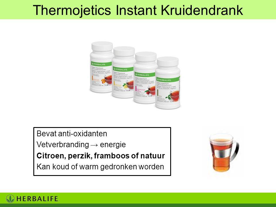 Bevat anti-oxidanten Vetverbranding → energie Citroen, perzik, framboos of natuur Kan koud of warm gedronken worden Thermojetics Instant Kruidendrank