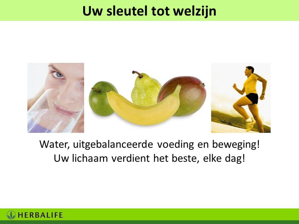 Uw sleutel tot welzijn Water, uitgebalanceerde voeding en beweging! Uw lichaam verdient het beste, elke dag!