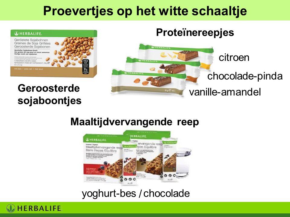 Proevertjes op het witte schaaltje citroen chocolade-pinda vanille-amandel Geroosterde sojaboontjes Proteïnereepjes yoghurt-beschocolade / Maaltijdver
