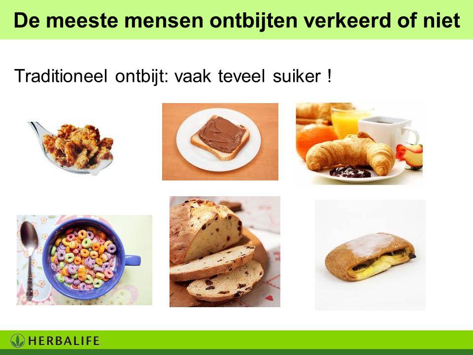 De meeste mensen ontbijten verkeerd of niet Traditioneel ontbijt: vaak teveel suiker !