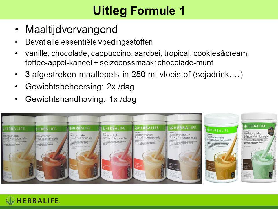 Uitleg Formule 1 Maaltijdvervangend Bevat alle essentiële voedingsstoffen vanille, chocolade, cappuccino, aardbei, tropical, cookies&cream, toffee-app