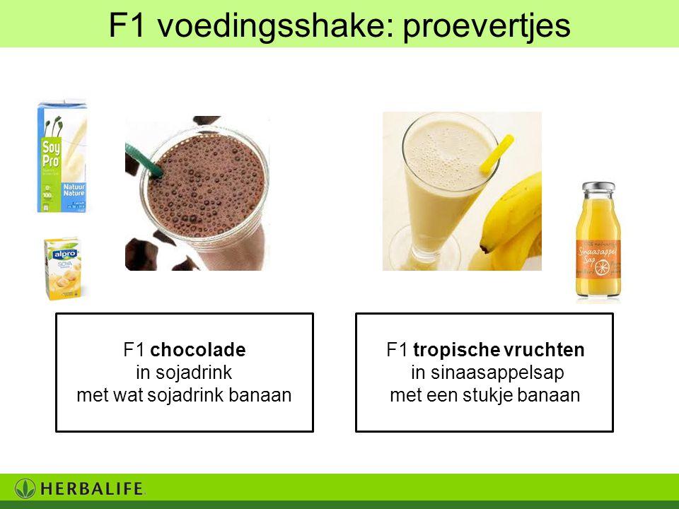 F1 chocolade in sojadrink met wat sojadrink banaan F1 voedingsshake: proevertjes F1 tropische vruchten in sinaasappelsap met een stukje banaan