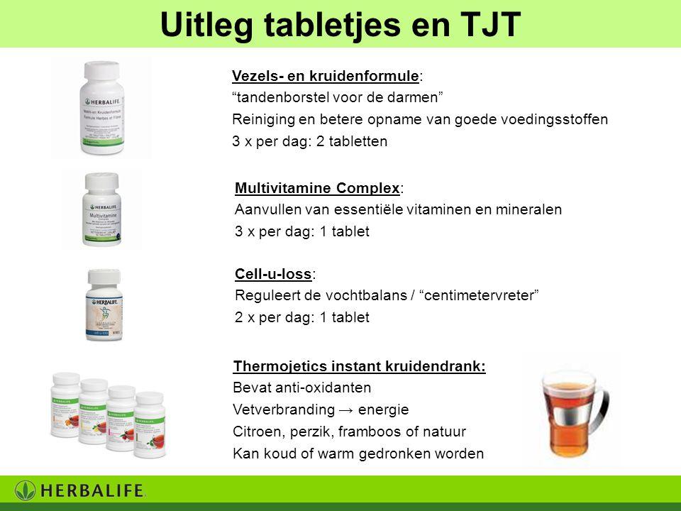 """Uitleg tabletjes en TJT Vezels- en kruidenformule: """"tandenborstel voor de darmen"""" Reiniging en betere opname van goede voedingsstoffen 3 x per dag: 2"""