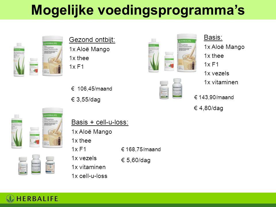 € 168,75/maand € 5,60/dag Mogelijke voedingsprogramma's Gezond ontbijt: 1x Aloë Mango 1x thee 1x F1 Basis: 1x Aloë Mango 1x thee 1x F1 1x vezels 1x vi