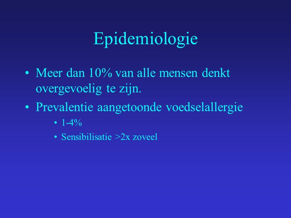 Epidemiologie Meer dan 10% van alle mensen denkt overgevoelig te zijn.