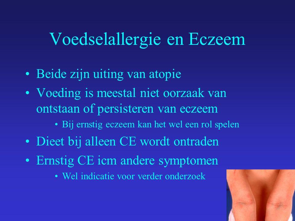 Voedselallergie en Eczeem Beide zijn uiting van atopie Voeding is meestal niet oorzaak van ontstaan of persisteren van eczeem Bij ernstig eczeem kan het wel een rol spelen Dieet bij alleen CE wordt ontraden Ernstig CE icm andere symptomen Wel indicatie voor verder onderzoek