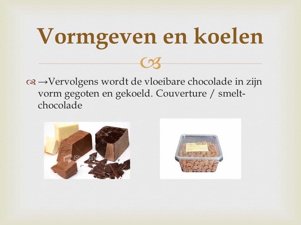   →Vervolgens wordt de vloeibare chocolade in zijn vorm gegoten en gekoeld. Couverture / smelt- chocolade Vormgeven en koelen