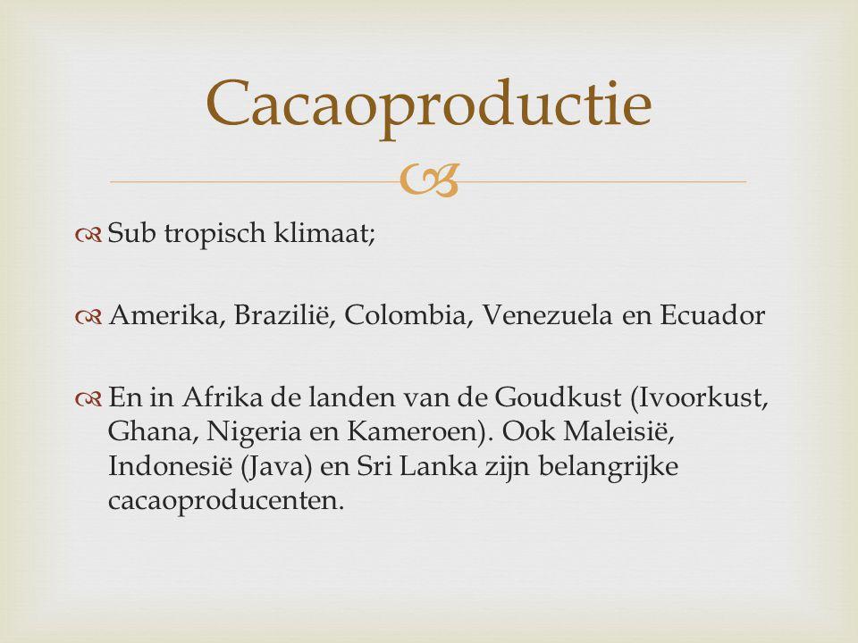   Sub tropisch klimaat;  Amerika, Brazilië, Colombia, Venezuela en Ecuador  En in Afrika de landen van de Goudkust (Ivoorkust, Ghana, Nigeria en K