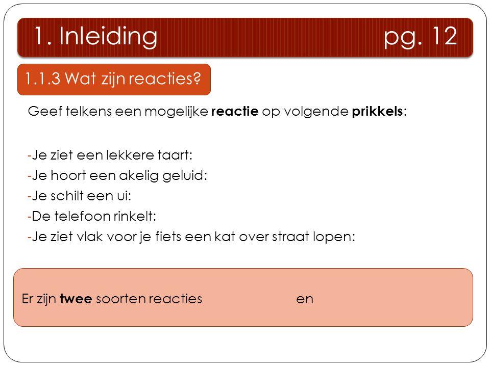1.Inleiding pg. 12 1.1.3 Wat zijn reacties.