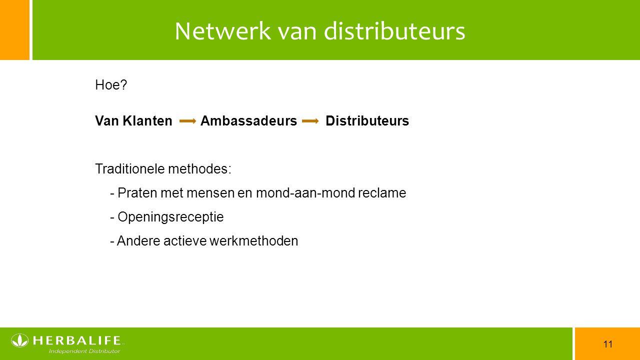 11 Netwerk van distributeurs Hoe? Van Klanten Ambassadeurs Distributeurs Traditionele methodes: - Praten met mensen en mond-aan-mond reclame - Opening