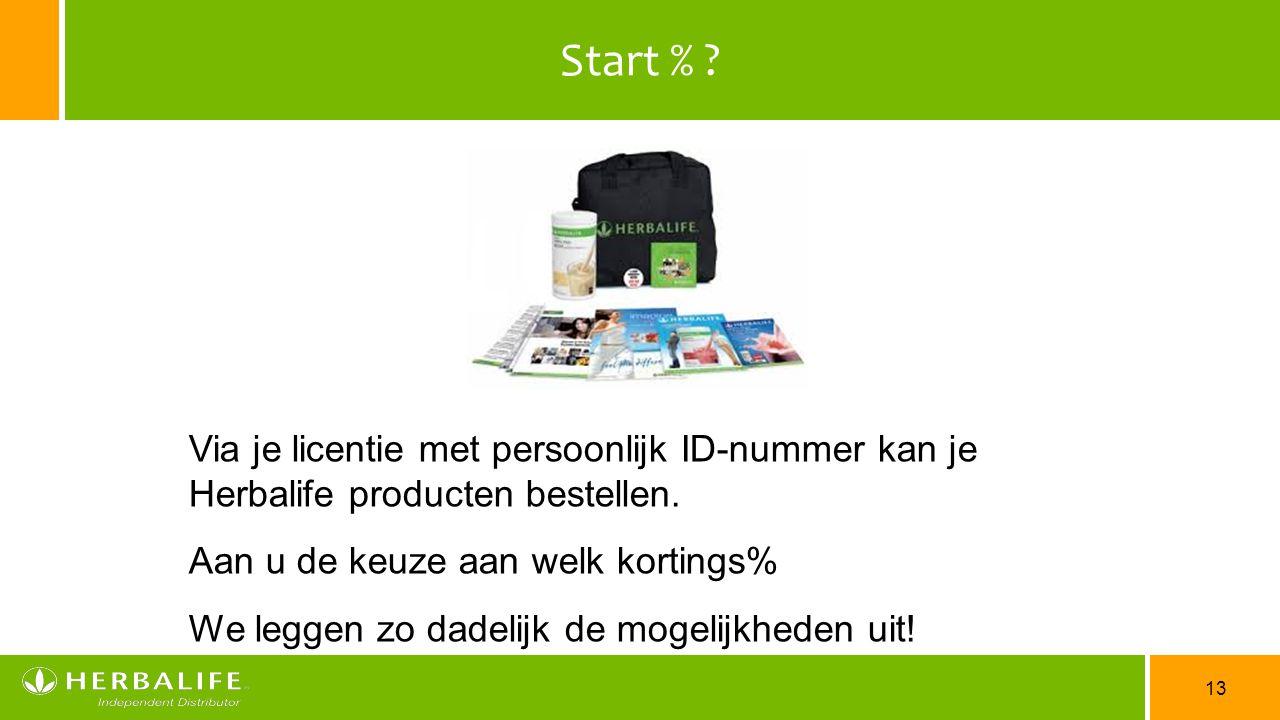 13 Start % ? Via je licentie met persoonlijk ID-nummer kan je Herbalife producten bestellen. Aan u de keuze aan welk kortings% We leggen zo dadelijk d