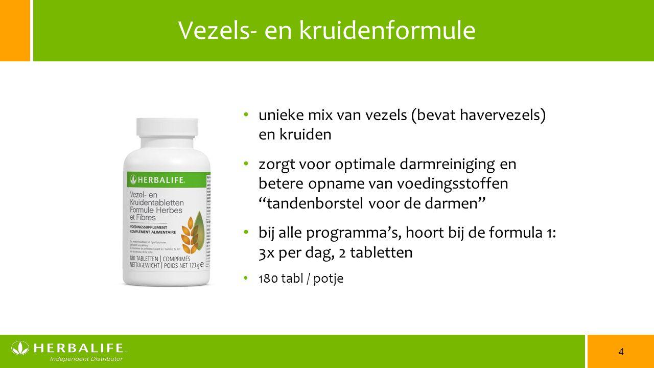 4 Vezels- en kruidenformule unieke mix van vezels (bevat havervezels) en kruiden zorgt voor optimale darmreiniging en betere opname van voedingsstoffe