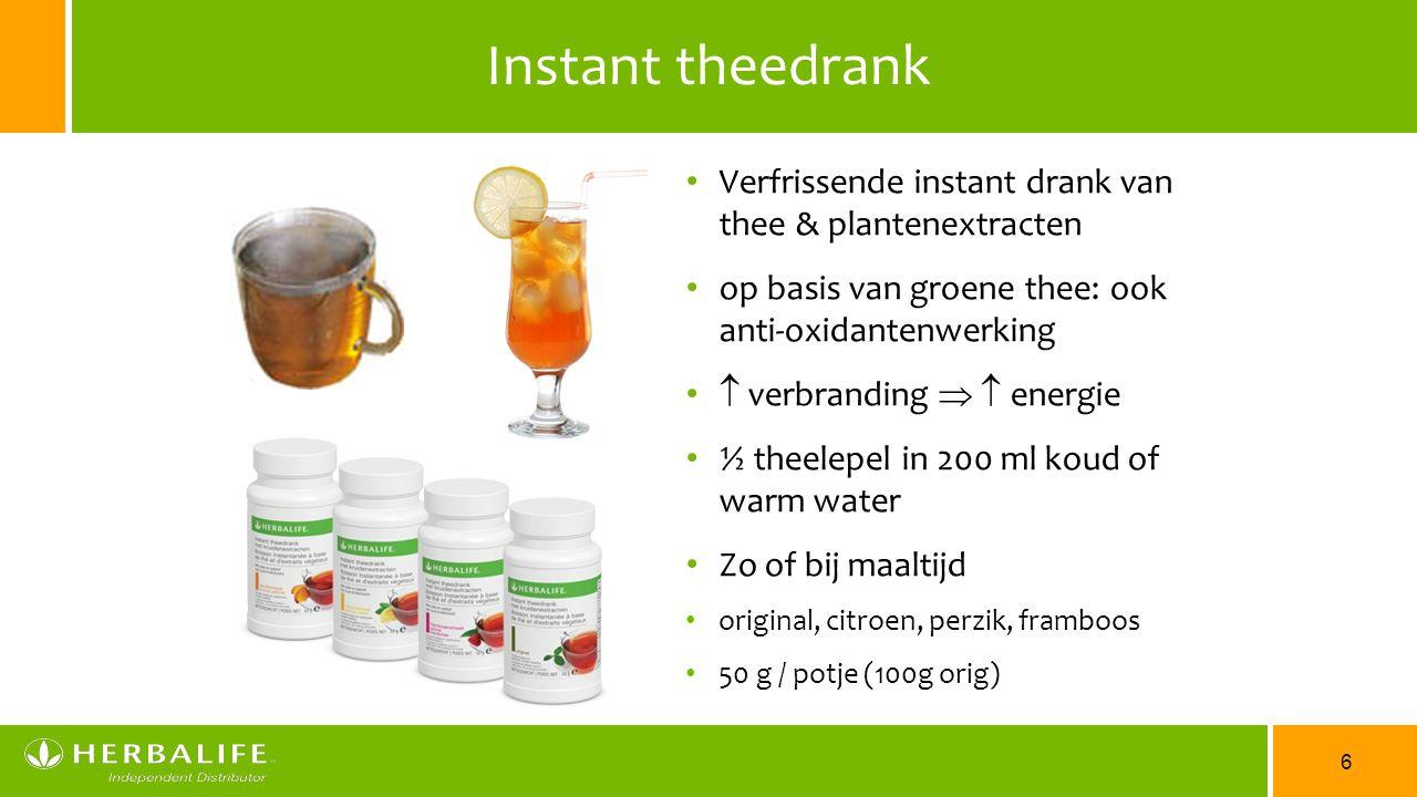 6 Instant theedrank Verfrissende instant drank van thee & plantenextracten op basis van groene thee: ook anti-oxidantenwerking  verbranding   energ
