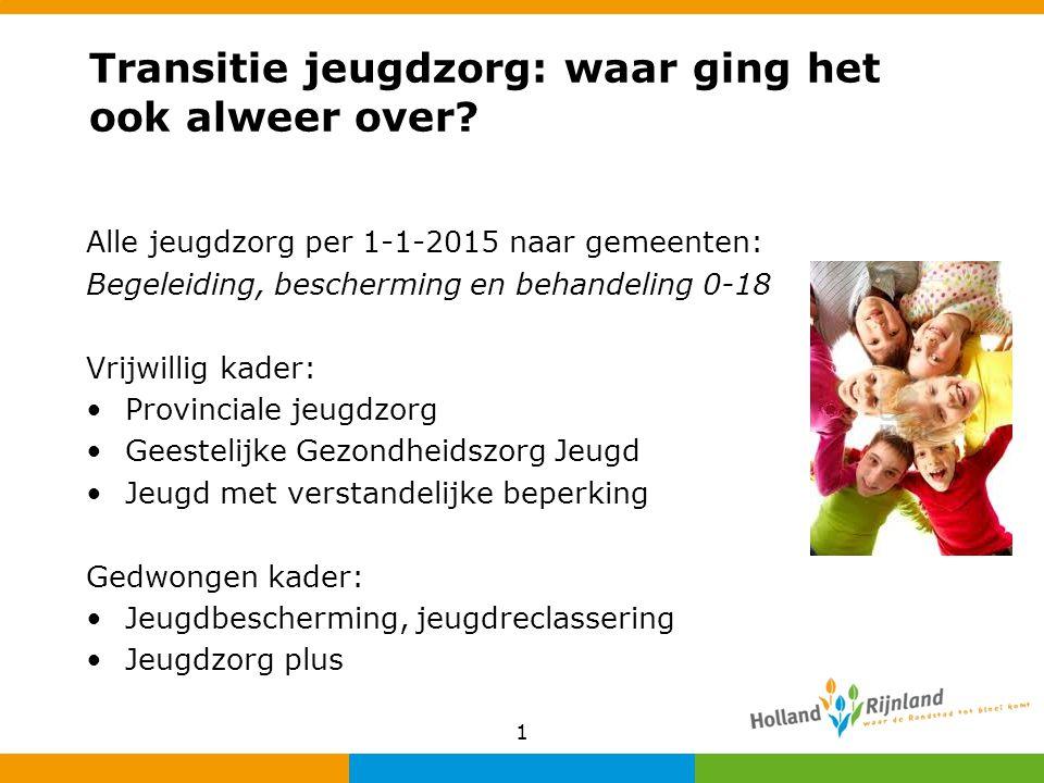 Transitie jeugdzorg: waar ging het ook alweer over? Alle jeugdzorg per 1-1-2015 naar gemeenten: Begeleiding, bescherming en behandeling 0-18 Vrijwilli