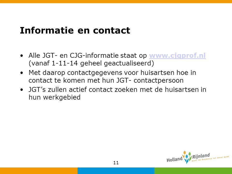 Informatie en contact Alle JGT- en CJG-informatie staat op www.cjgprof.nl (vanaf 1-11-14 geheel geactualiseerd)www.cjgprof.nl Met daarop contactgegevens voor huisartsen hoe in contact te komen met hun JGT- contactpersoon JGT's zullen actief contact zoeken met de huisartsen in hun werkgebied 11