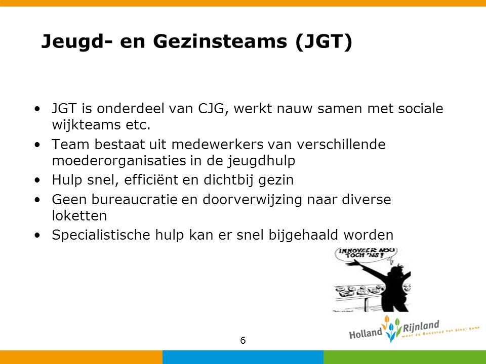Jeugd- en Gezinsteams (JGT) JGT is onderdeel van CJG, werkt nauw samen met sociale wijkteams etc. Team bestaat uit medewerkers van verschillende moede