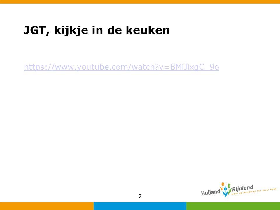 Proeftuinen JGT's Sinds maart '14 6 JGT's als proeftuin opgezet Eerste ervaringen erg positief (serieus genomen, korte lijnen, snel hulp geboden) Proeftuinen uitgebreid geëvalueerd Vanaf 1-1-15 24 JGT's in Holland Rijnland 8