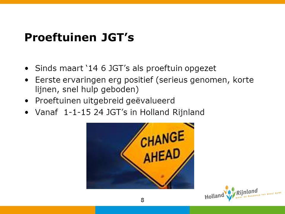 Proeftuinen JGT's Sinds maart '14 6 JGT's als proeftuin opgezet Eerste ervaringen erg positief (serieus genomen, korte lijnen, snel hulp geboden) Proe