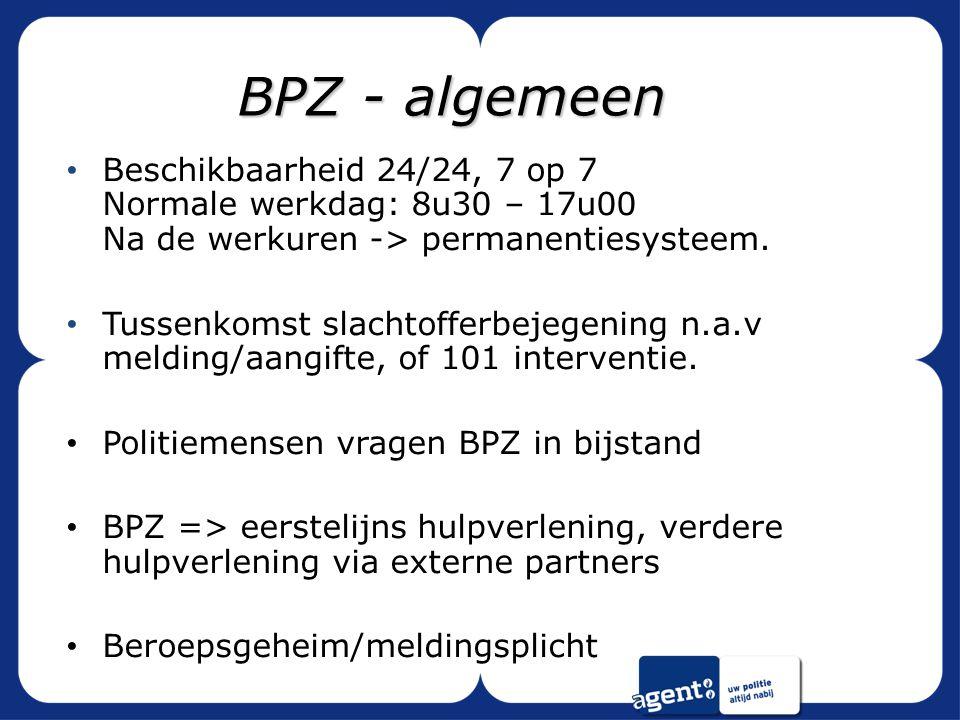 BPZ - algemeen Beschikbaarheid 24/24, 7 op 7 Normale werkdag: 8u30 – 17u00 Na de werkuren -> permanentiesysteem.