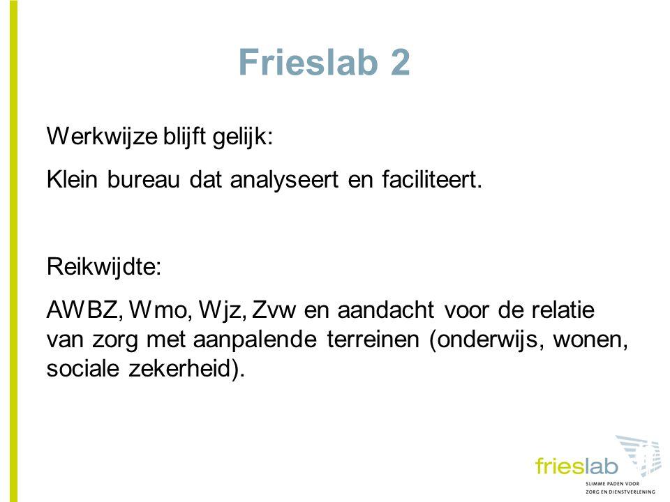 Frieslab 2 Werkwijze blijft gelijk: Klein bureau dat analyseert en faciliteert.