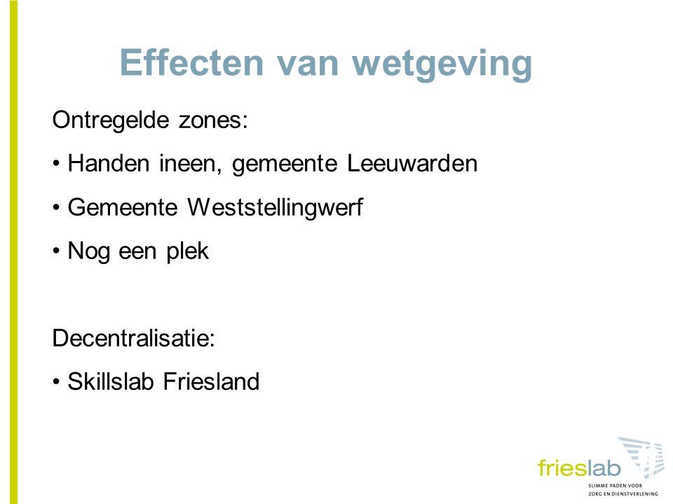 Effecten van wetgeving Ontregelde zones: Handen ineen, gemeente Leeuwarden Gemeente Weststellingwerf Nog een plek Decentralisatie: Skillslab Friesland