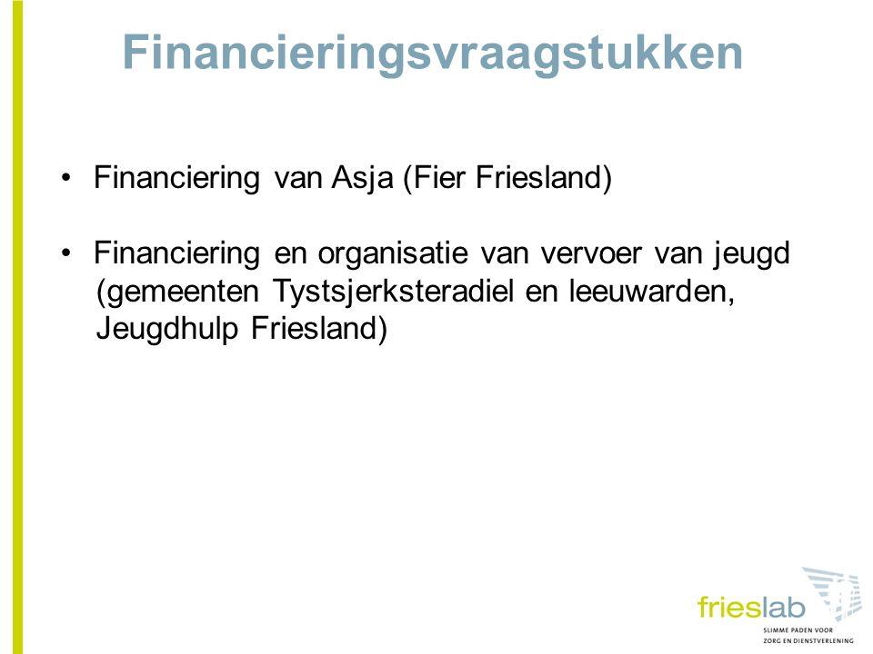 Financieringsvraagstukken Financiering van Asja (Fier Friesland) Financiering en organisatie van vervoer van jeugd (gemeenten Tystsjerksteradiel en leeuwarden, Jeugdhulp Friesland)