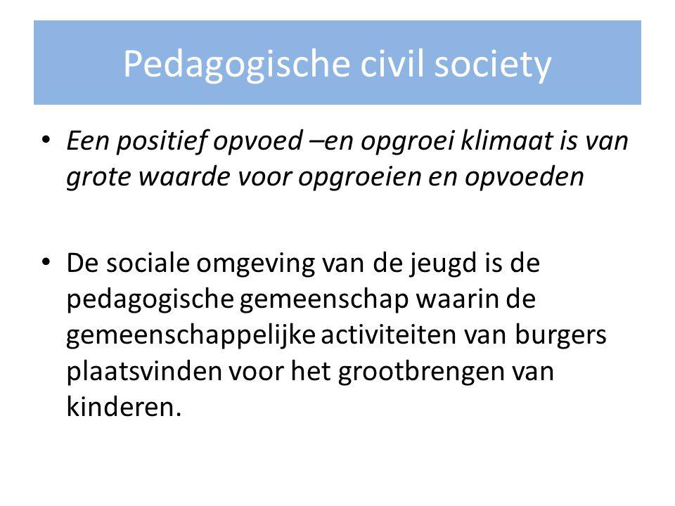 Pedagogische civil society Een positief opvoed –en opgroei klimaat is van grote waarde voor opgroeien en opvoeden De sociale omgeving van de jeugd is
