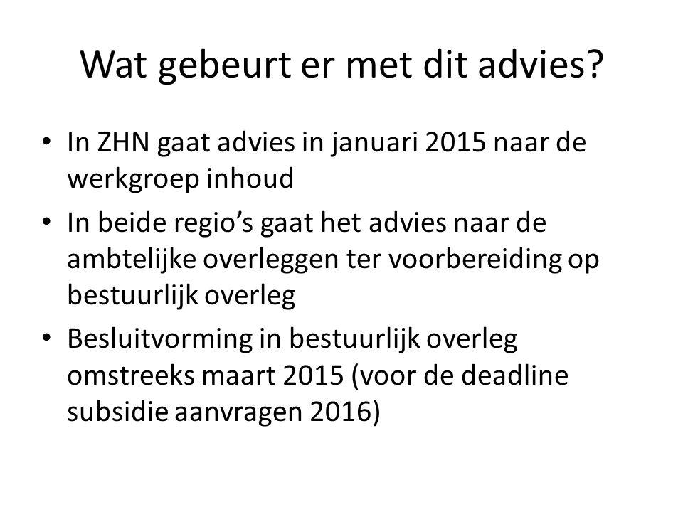 Wat gebeurt er met dit advies? In ZHN gaat advies in januari 2015 naar de werkgroep inhoud In beide regio's gaat het advies naar de ambtelijke overleg