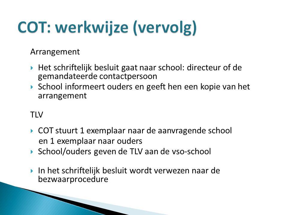 Arrangement  Het schriftelijk besluit gaat naar school: directeur of de gemandateerde contactpersoon  School informeert ouders en geeft hen een kopi