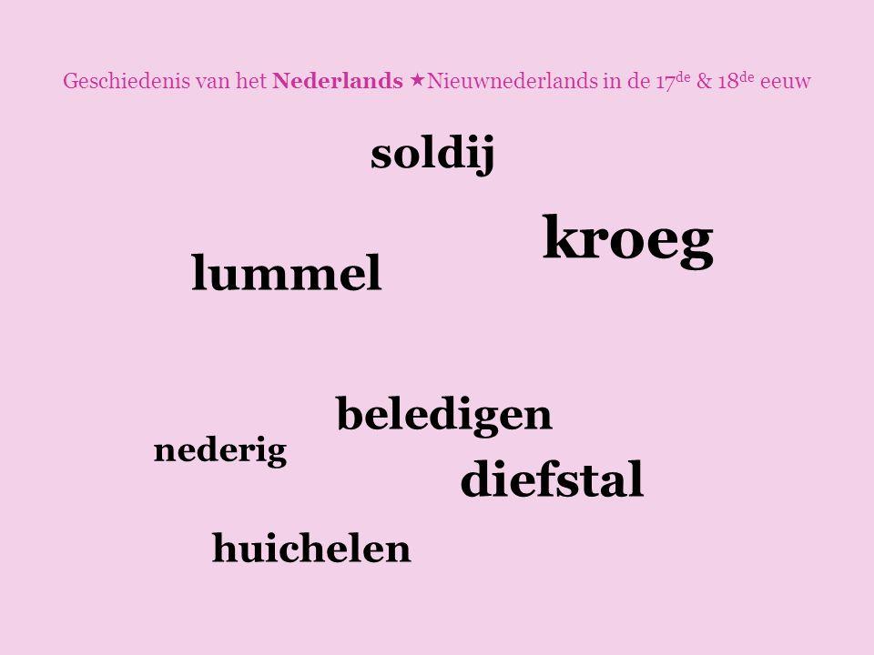 Geschiedenis van het Nederlands  Nieuwnederlands in de 17 de & 18 de eeuw lummel diefstal beledigen nederig kroeg soldij huichelen